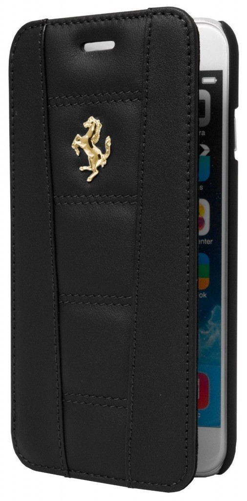 BLACK GOLD EMBLEM LEATHER BOOKTYPE CASE